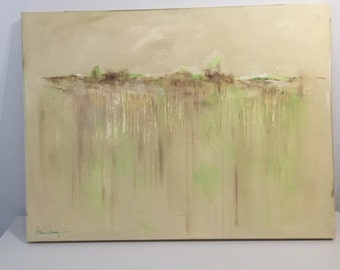 """Acrylic on canvas, earthy tones, slight tear in canvas that was repaired, 40X30"""""""