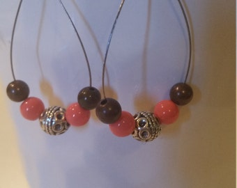 Coral and brown beaded earrings