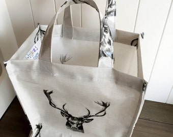 Everyday lunch tote bag in stag oilcloth
