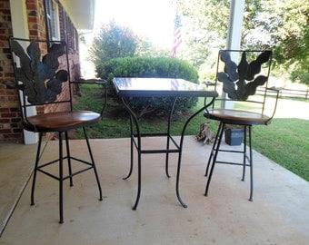Bar Height Granite Table & Swivel Chairs