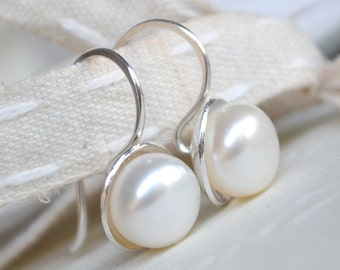 Pearl Earrings. Sterling Silver & Freshwater Pearl Earrings (9mm size). Drop Pearl Earrings. White Pearl Earrings.