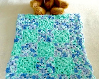 "Hand-crocheted Baby Blanket 4-color granny squares 35""x29"""