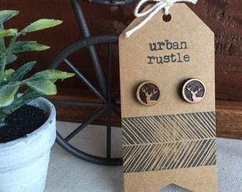 Elk wooden stud earrings - elk jewelry - elk jewellery - animal stud earrings - elk earrings - elk studs - wooden earrings - wooden studs
