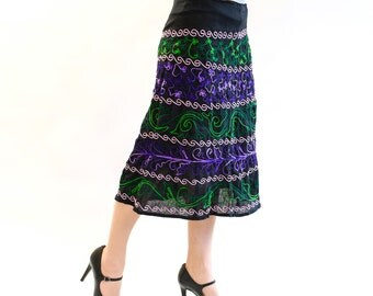 Embroidered skirt Egwene in form A, black purple, pink, green, one of a kind