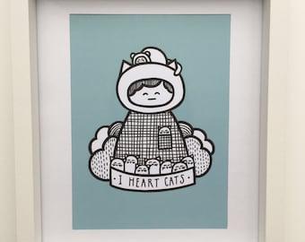I Heart Cats A5 Art Print Blue
