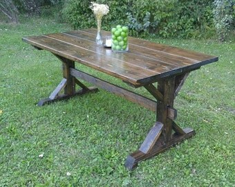 Farm House Table, Farm House Trestle Table, Dark Farm House Table, Kitchen Table, Dining Table