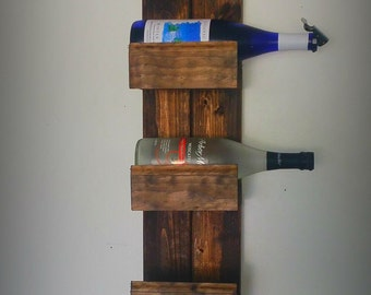 "40"" Wooden Wine Rack, Skinny Wine Rack, Vintage Wine Rack, Five Bottle Wine Rack, Farm House Wine Rack"