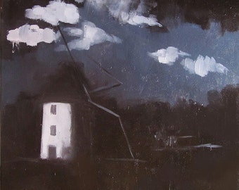 Windmill oil painting on canvas, 2014, signed