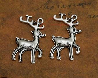 10PCS--38x23mm ,Reindeer Charms, Antique Tibetan silver deer charm pendatns , DIY supplies,Jewelry Making