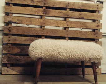 Mid-century mod upcycle reupholstered fuzzy stool
