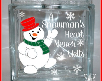Let It Snow Christmas Glass Block Decal Sticker DIY - How to make vinyl decals for glass blocks