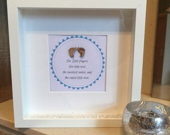 Handmade Newborn Baby Box Frame With MDF Foot Embellishment