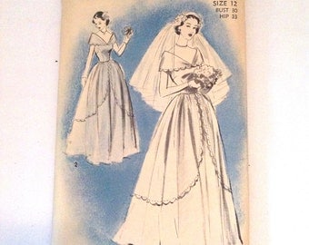 Vintage Advance 1940s Womens Beautiful Wedding Gown Sewing Pattern 5177 Size 12