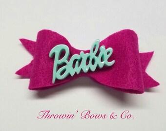 Barbie Girl Handmade Felt Bow