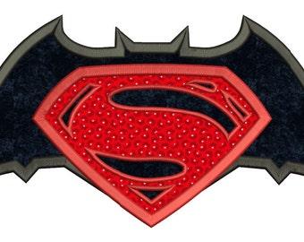 Batman vs Superman Applique Machine Embroidery Design 3 sizes instant download