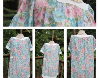 Godfried Original nightgown vintage floral pjs night dress 1960s housewife dacron polyester nylon cotton