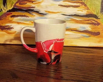 Red, Black and Silver Marbled Mug