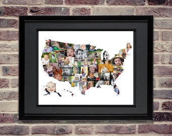 USA Photo Collage - USA Map - United States Map - USA svg - Usa Wall Art - United States of America Picture Collage