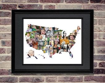 Custom Photo Collage Map of U.S. - USA Map - United States Map - USA Wall Art - Custom USA Photo Collage