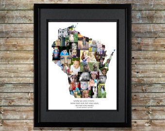 Wisconsin Photo Collage - Wisconsin Home - Wisconsin Art - Wisconsin Map - Wisconsin Wall Art - Wisconsin SVG - Shape Collage