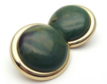 Large Clip on Earrings 4cm Marbled Green Color Gold Tone Retro Vintage
