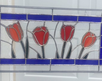 Red Tulips Stained Glass
