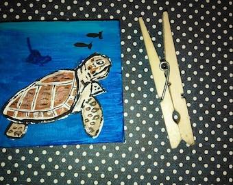 Miniature Sea Turtle painting.