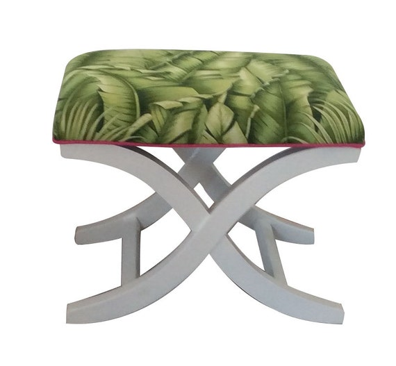 X Bench Upholstered Ottoman Stool Palm By Lillyandcopalmbeach