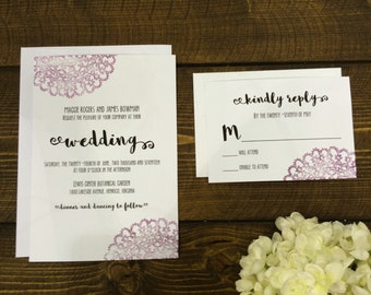 Lace Hand-Stamped Wedding Invitation