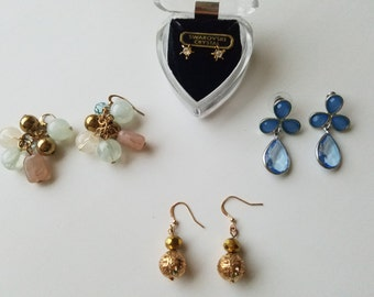 Unique and Chic Vintage Costume Jewelry - Dangle and Drop Earrings and One Pair of Vintage Swarovski Crystal Studs - Retro 1960's-70's