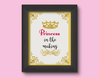 Children nursery wall art, printable quotes, Princess in the making, baby wall quote