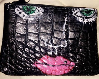 Face coin purse hand painted