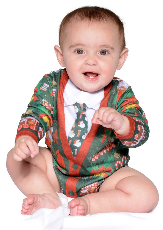 Infant Baby Babies Ugly Tacky Christmas Holiday Xmas X Mas Sweater santa claus reindeer elf elves toys vest tie pattern onesie T Shirt tee