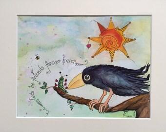 Crow watercolour, Original watercolour, crow, raven, watercolour, friendship, corvid, folk art, whimsical art, bird painting, sale,