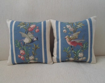 "exclusive RALPH LAUREN set of pillows birds,blue,floral stripe  12""x12"""