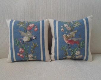 "exclusive RALPH LAUREN set of pillows birds,blue,floral stripe  12""x12"""