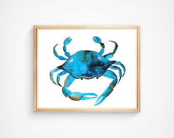 Blue Watercolor Crab Print, Sea Animal Art, Seafood Art Print, The Little Mermaid, Maryland Blue Crab Art, Ocean Baby Art, Sea Baby Art,
