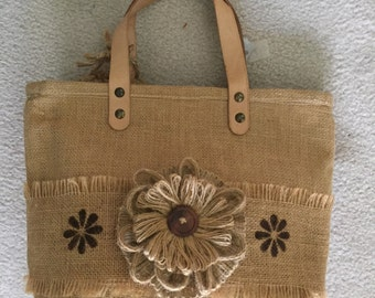 Burlap Purse with stencils