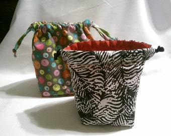 4 1/2 Inch Custom Reversible Square-bottom Drawstring Bag