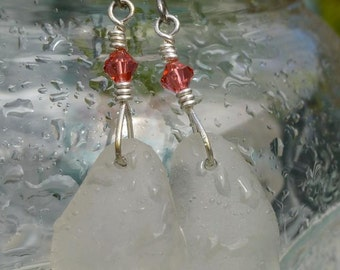 Genuine Sea Glass Earrings w/ Salmon Swarovski Crystals
