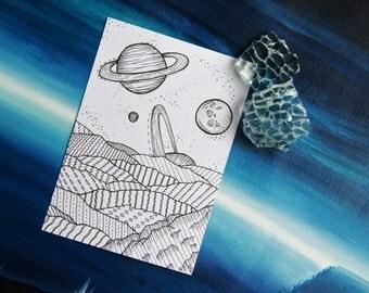 Planet and Mountain Illustration A4 Print or 10x15cm Postcard Black&White [19]