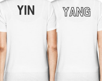 Asian Yin and Yang Matching Best Friend BFF Women's White T-shirt Back Print FT042