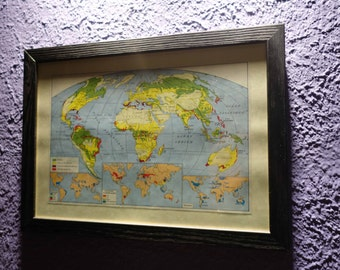 Old map of the world (1949) - original vintage of the agricultural world in color dating back to 1949 map (21cm x 29, 7cm)-sold box