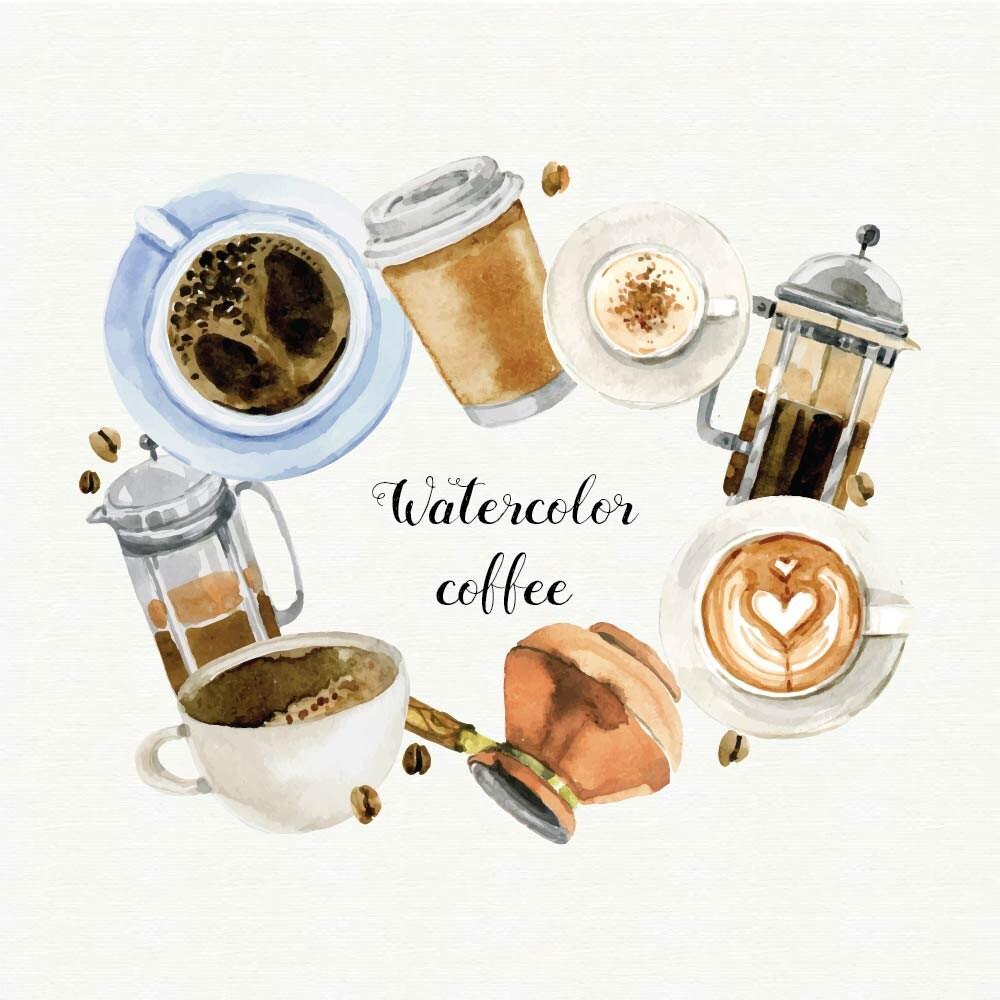 Watercolor coffee clipart coffee mug clip art digital clip for Coffee watercolor