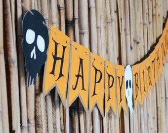 Happy Birthday Banner, Halloween Theme Banner, Birthday Banner, Halloween Banner, Birthday Party, Halloween Birthday, Birthday Decors