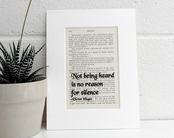 Antique Book Page Quote Print, Victor Hugo Quote, Literary Print, Les Miserables Print, Book Lover Gift, Gift For a Friend
