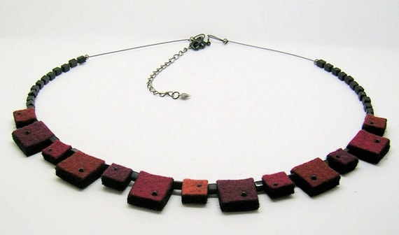 Burgundy wool felt squares necklace