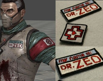 Borderlands Dr. Zed cosplay sew on embroidered patches