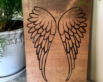 Rustic Wood Burned Angel Wings- Angel Wings Wall Decor- Personilized Angel Sign- Angel Wings- In Memory Sign- Best Seller