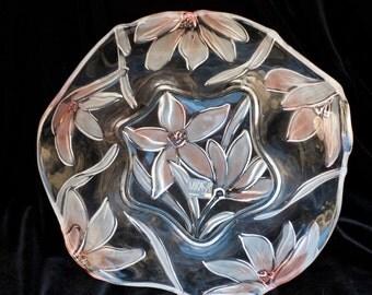 Mikasa, Crystal Bowl, Passion Flowers, 10 inch hostess bowl, Made in Germany, SA #856/ 259